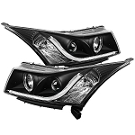 Spyder Projector Headlights - Light Tube DRL - Black 2011-2016 Chevrolet Cruze