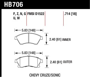 Hawk Front Street Brake Pads for 2011-2016 Limited Chevy Cruze