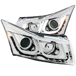 ANZO USA PROJECTOR HEADLIGHTS - U-BAR CHROME CLEAR - 2011-2016 Chevrolet Cruze