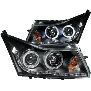 ANZO USA PROJECTOR HEADLIGHTS BLACK w/ HALO (LED LOW-BROW DESIGN) 2011-2016 Chevrolet Cruze
