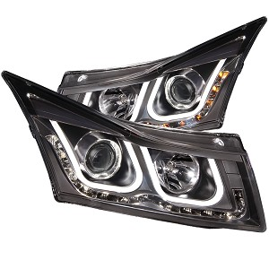 ANZO USA PROJECTOR HEADLIGHTS - U-BAR BLACK CLEAR - 2011-2016 Chevrolet Cruze